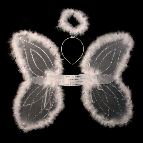 Kid's White Marabou Angel Wings & Halo