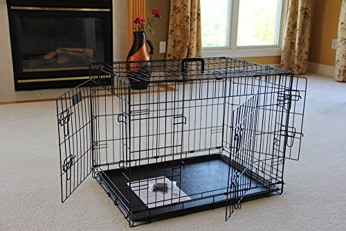 EliteField 3-Door Folding Dog Crate with Rubber FEET, 5 Sizes, 10 Models Available (3-Door Crate, 30