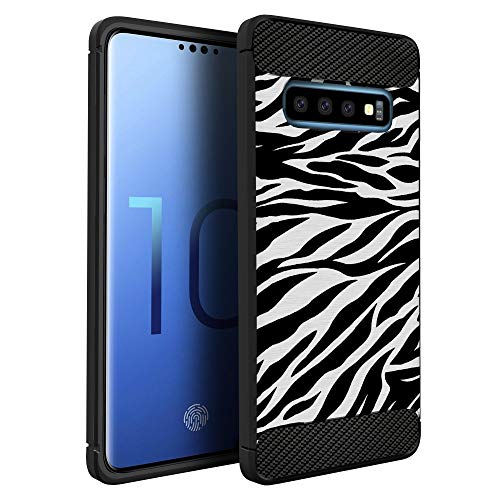 CasesOnDeck Fitted Case Compatible with [Samsung Galaxy S10+ / S10 Plus (2019)] Carbon Fiber Accents Bump and Drop Protecting Flexible TPU (Zebra Stripes)