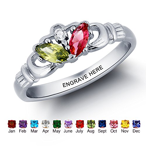 Personalized Infinity Claddagh Ring With Simulated Birthstone Name Engraved Women Wedding Jewelry Gift (7)