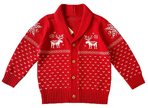 Snowflake Baby Cardigan - Unisex Kids Baby Toddlers & Little Boys Girls Christmas Reindeer Snowflake Button Down Hooded Knit Cardigan Sweater Jacket Coat, Red