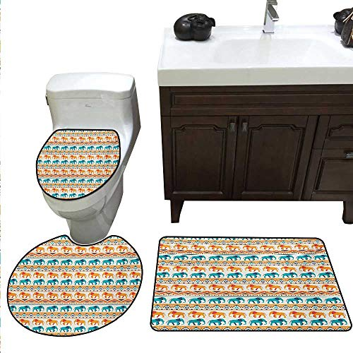 Elephant Bath mat Set with Toilet Cover Horizontal Borders with Exotic Animals Ethnic Geometric Orient Design Toilet Rug and mat Set Turquoise Orange Cream