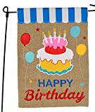 Cheap Happy Birthday Garden Flag or Car Decoration – Happy Birthday Cake and Balloons On Burlap – 12×18 – Home Garden Flag