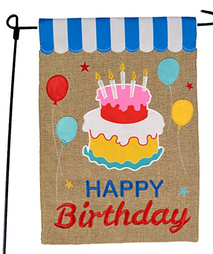 Happy Birthday Garden Flag or Car Decoration - Happy Birthday Cake and Balloons On Burlap - 12x18 - Home Garden Flag Decorate That Special Birthday Cake