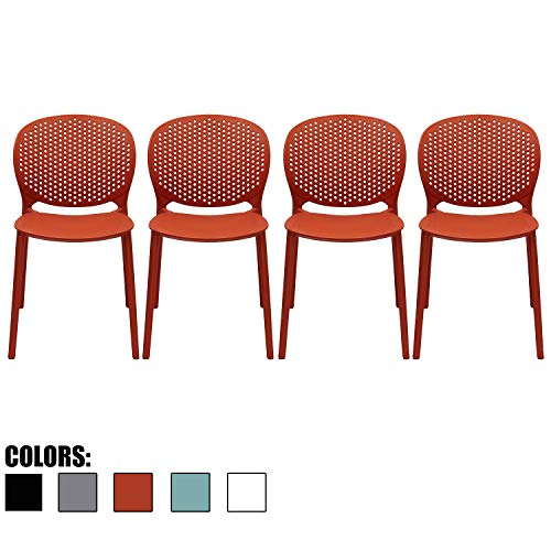 2xhome Set of 4 Dark Orange Contemporary Modern Stackable Assembled Plastic Chair Molded Back Armless Side Matte Dining Room Living Designer Outdoor Garden Patio Balcony Work Office Desk Kitchen