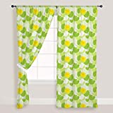 AZ Green Leaves Door & Window Curtain Satin 4feet x 10feet; SET OF 3 PCS