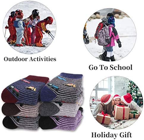 FNOVCO Children's Winter Warm Wool Socks Kids Boys Girls Animal Socks 6 Pairs