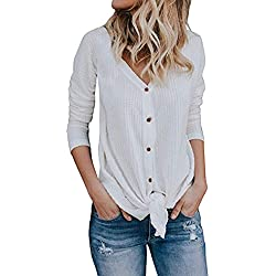 Halife Women's Autumn Long Sleeve Button Down Tie Front Knot Top Tees Shirts White,S
