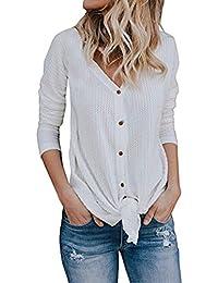 Womens Waffle Knit Tunic Blouse Long Sleeve Button Down...