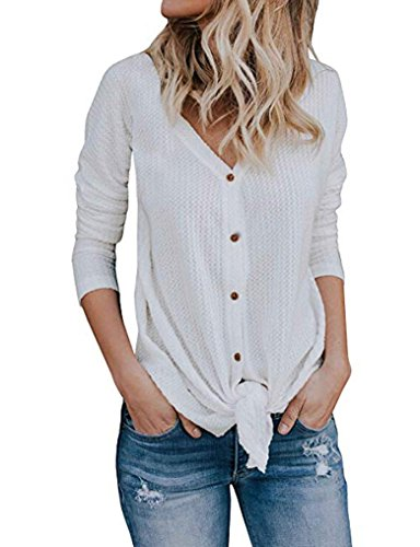 Halife Women's Autumn Long Sleeve Button Down Tie Front Knot Top Tees Shirts (Knit Henley Tee)