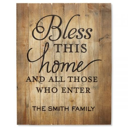 (Lillian Vernon Personalized Bless This Home Pinewood Plaque - 12