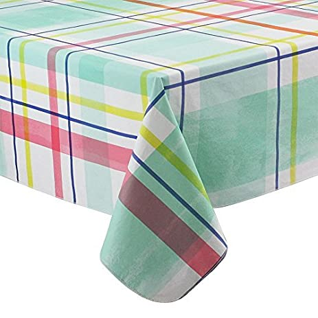 Spring Summer Plaid Vinyl Tablecloth Flannel Backed (70 Round)