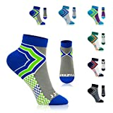 NEWZILL Low-Cut Compression Socks Unisex Running Socks with Embedded Frequency Technology for Heel, Ankle & Arch Support, Improves Stamina Endurance & Balance (Medium, Royal Blue/Neon Green)