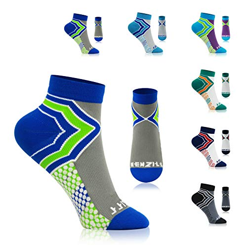 NEWZILL Low-Cut Compression Socks Unisex Running Socks with Embedded Frequency Technology for Heel, Ankle & Arch Support, Improves Stamina Endurance & Balance (Small, Royal Blue/Neon Green)