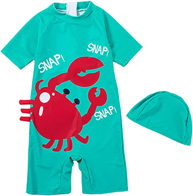 Baby Boys One Piece Surfing Rash Guard Swimsuits Zipper Sunsuit Swimwear Sets Bathing Suit with Sunhat