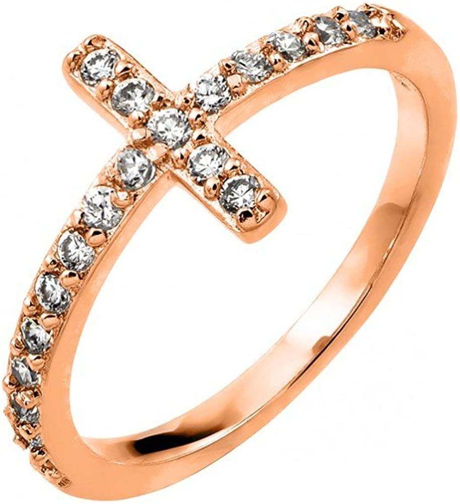 Clear Prong Set Cubic Zirconia Cross Designer Ring Rhodium Plated Sterling Silver