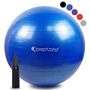 SmarterLife Exercise Ball for Yoga, Balance, Stability, Fitness, Pilates, Birthing, Therapy, Office Chair and Flexible Seating | Anti Burst, Non Slip Design | + Workout Ball Guide (Blue, 55cm)