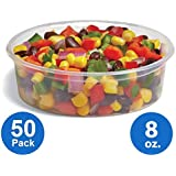 [50pk] Plastic Food Storage Containers with lids - Foodsavers Deli Cups / Foodsavers for Portion Control & Miscellaneous - Commercial Duty, Watertight & Leakproof (8oz, 50pcs)