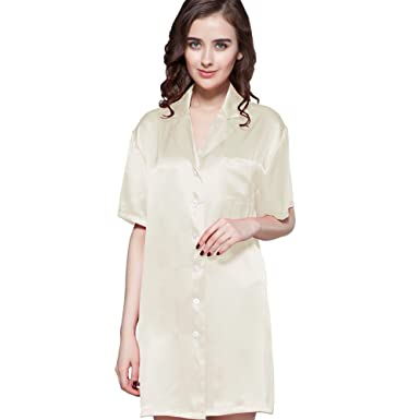4bb696a4b8 LilySilk Silk Nightshirt for Women Sleep Shirt 22 Momme Charmeuse Nightgown  Button Front 100% Pure