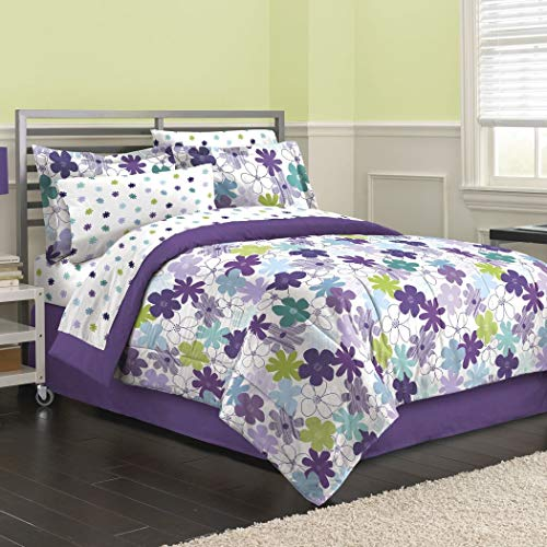 8 Piece Purple Girls Flower Print Comforter Queen Set, Cute All Over Abstract Flowers Bedding, Pretty Multi Floral Themed, Beautiful Daisy Pattern, Plum Violet Lavender Sky Blue Light Lime Green