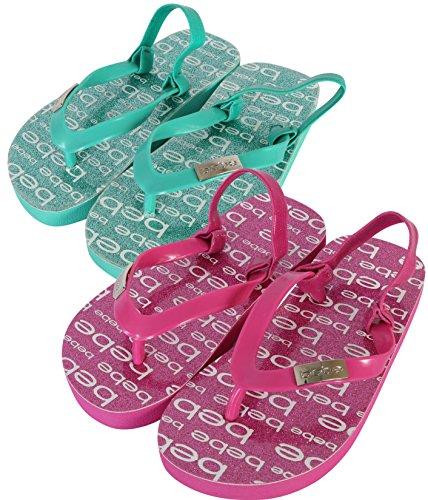 Price comparison product image bebe Girls 2 Pack Flip Flop Glitter EVA Sandals, Fuchsia/Mint, 9 M US Toddler'