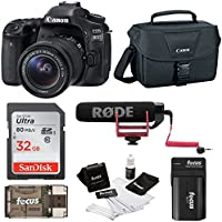 Canon EOS 80D DSLR Video Creator Kit w/ 18-55mm lens, Rode VIDEOMIC GO, 32GB Card, Canon 100ES DSLR Bag & Kit