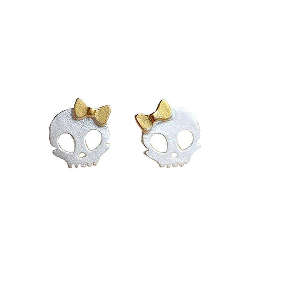 S925 Sterling Silver Vintage Golden Bowknot Skull Womens Stud Earrings, 7MM XCFS B01MR0DO84_US