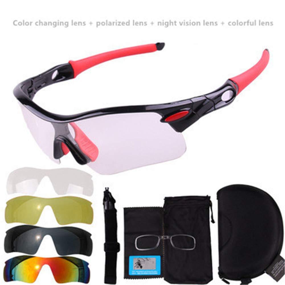 APJJ Photochrome Sonnenbrillen Radfahren Motorrad, Männer Reiten Sonnenbrillen Farbwechsel Linsen Winddicht UV Schutz Mountainbike Radfahren Brille