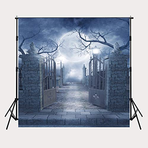 Halloween Night Moon (Dudaacvt 8ft x 8ft Halloween Party Background Photography Moon Night Backdrop Studio Prop for Pictures)