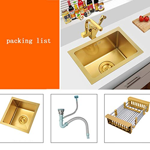 - Kitchen Sinks Gold Mini Trumpet Sink Stainless Steel Metal Dishwashing Pool Kitchen Essentials Bar Cleaning Container Durable (Color : Gold, Size : 382621.5cm)