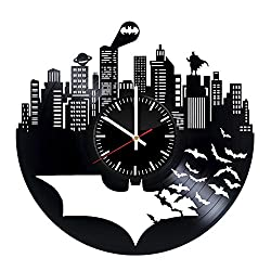 Batman Vinyl Records Wall Clock - Superhero Original Present For Movie's Fans - Wall Art Room Decor Handmade Decoration Party Supplies Theme Birthday Gift - Vintage And Modern Style