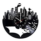 Batman Vinyl Records Wall Clock - Superhero Original Present For Movie's Fans - Wall Art Room Decor Handmade Decoration Party Supplies Theme Birthday Gift - Vintage And Modern Style