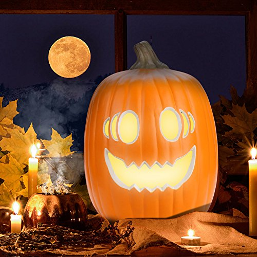 (Kariwell LED Light Pumpkin Lamp, Hanging LED Office Lamp,Halloween Pumpkin Lamp,LED Waterproof Garden Flickering Lamp for in Dance Party, Toy Party, Bar KTV [Ship from)