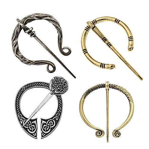 4 Pack Women Girls Brooches Pins, Decorative Medieval Vintage Viking Clasp Pin, Scarf Cloak Shawl Leg Wrap Buckle Brooch, Penannular Clothes Decorations Fashion Jewelry, Antique Silver Gold
