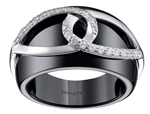 Ceranity - 1-12/0069-N - Bague Femme - Entrelacé - Argent 925/1000 2.49 gr - Céramique - Oxyde de zirconium - Noir/Blanc