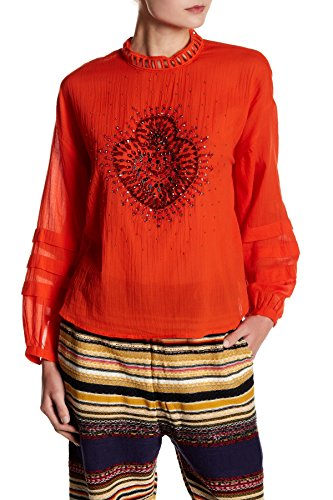 Free People Women's Heart Gold Embellished Cotton Blouse Red Large