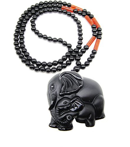 SUNNYHER Apache Tear Obsidian Real Stone Elephant Mother and Baby Son Amulet Long Beaded Chain Pendant Necklace for Women (26) ()