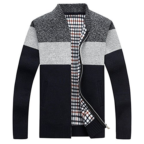 Zipper Knitted - XinDao Men's Casual Wide Stripes Zipper Knitted Cardigan Sweater Dark Grey US XL/Asia 3XL