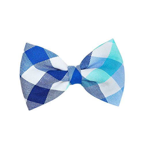 THE DOK Blue & Green Flannel – Dog Cat Pet Bow Tie Bowtie Collar Accessory 4 inch Christmas New Year 2020 Gift