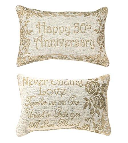 (Manual Weavers Reversible Gold 50th Anniversary Floral Rectangular Throw Pillow 8.5