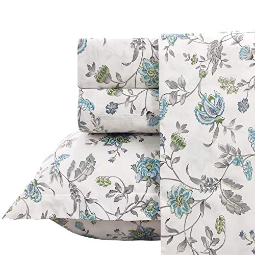 (FADFAY Sheet Set Queen Farmhouse Bedding Vintage Bedding Shabby Floral Bedding 100% Cotton Super Soft Hypoallergenic Blue and White Deep Pocket Fitted Sheet 4-Pieces Queen Size)