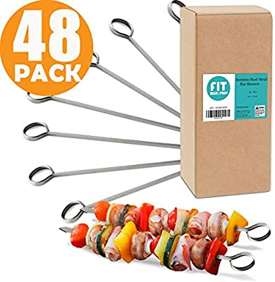 Amazon Com 48 Pack 8 Stainless Steel Flat Metal Skewers Kabob Grilling Sticks Bbq Mediterranean Mexican Cocktail Party For Appetizers Shish Kebab Meat Fruits Vegetables Picks Dishwasher Safe Kitchen Dining