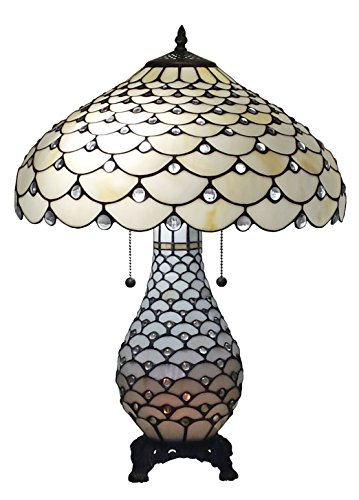 Style Double Light - Amora Lighting AM010TL18 Tiffany Style Jeweled Double Lit Table Lamp 3 Light 18-Inch Wide, White