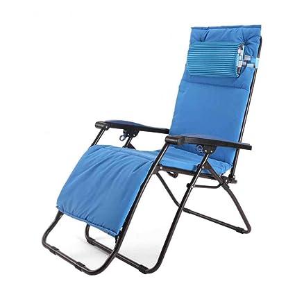 Textilene Fabric Silla Plegable reclinable Tumbonas Zero Gravity Tumbonas Garden Relaxer Blue con reposacabezas con portavasos