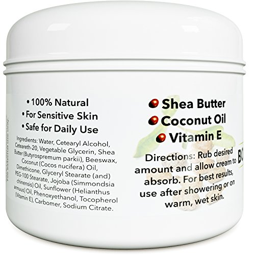 Anti Aging Moisturizer Body Butter - Refined Coconut Oil Scar Cream and Shea Butter Body Lotion for Dry Skin with Essential Oils - Cellulite Cream Body Moisturizer for Dry Skin with Cocoa Butter