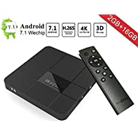 Android 7.1 TV Box, WeChip V8 2G+16G Smart TV Box Amlogic S905W Quad Core Cortex-A53 WIFI 4K HD Set Top Box