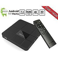 Android 7.1 TV Box, WeChip V8 2G+16G Smart TV Box Amlogic S905W Quad Core Cortex-A53 WIFI 4K HD Set Top Box