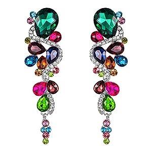 BriLove Women's Bohemian Boho Crystal Wedding Bridal Multiple Teardrop Chandelier Clip-On Dangle Earrings