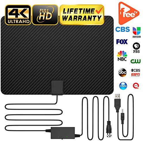 Professional Carbon Fibre 120+ Miles TV Antenna, Indoor TV Digital HD Antenna 4K HD Freeview Life Local Channels All Type Television Switch Amplifier Signal Booster ()