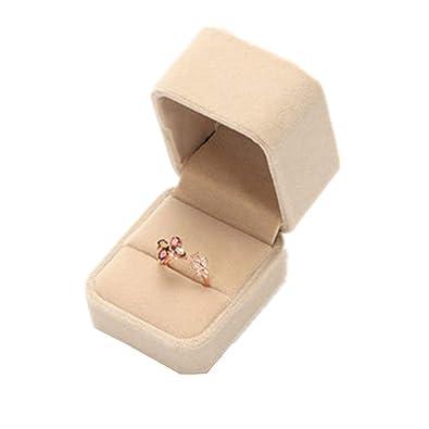 mi ji Joyería Terciopelo Delicada joyería de la Caja del sostenedor del Anillo de la joyería Cajas Pendientes Regalo exhibición de la joyería Cutely pequeña ...